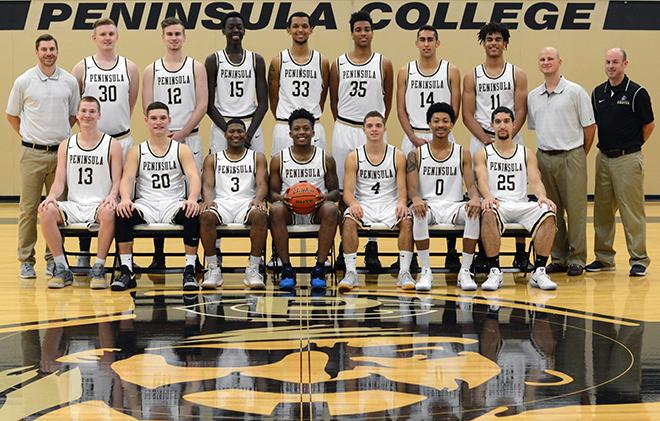 2016-17 Peninsula College Mens Basketball team photo
