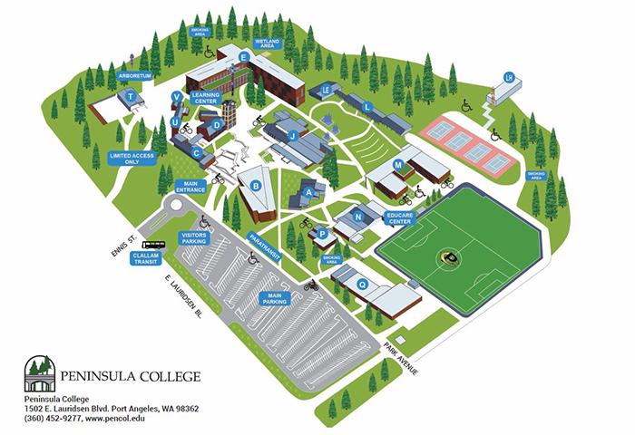 Campus Map Graphic 2014.   Peninsula College Athletics